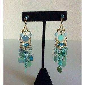 Chandelier Jeweled Green Dangling Pierced Earrings